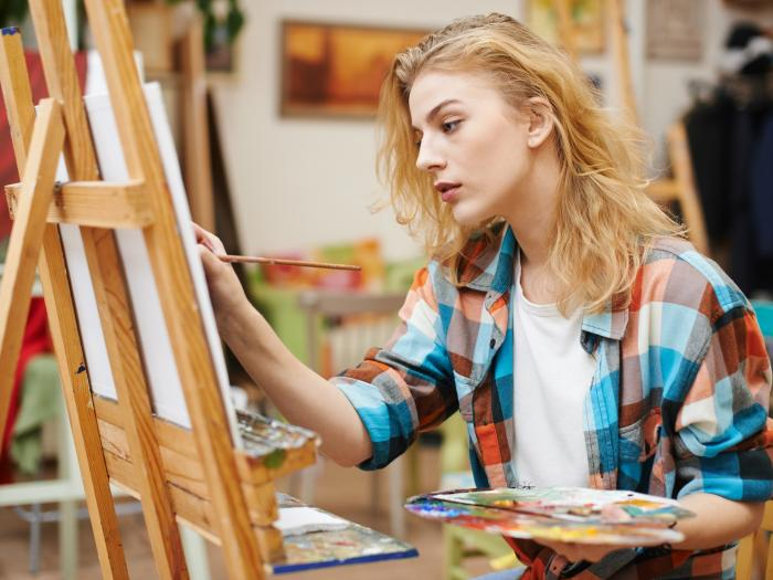 Art, draw, drawing, paint, painting, easel, girl